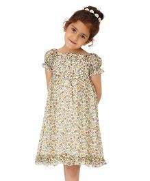 Dress My Angel Elegant Smocked Chiffon Flower Dress - White