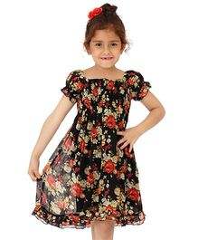 Dress My Angel Elegant Smocked Chiffon Flower Dress - Black