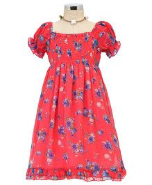 Dress My Angel Elegant Smocked Chiffon Flower Dress - Pink