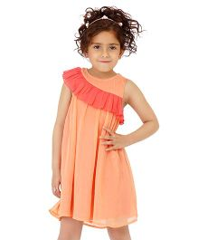Dress My Angel Stylish Shoulder Ruffle Dress - Peach