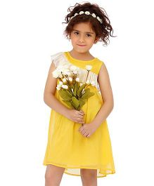 Dress My Angel Stylish Shoulder Ruffle Dress - Yellow