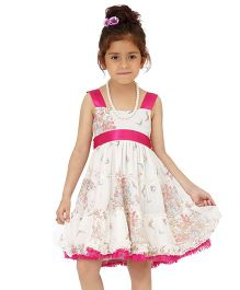 Dress My Angel Party Ruffled Chiffon Dress - Pink & White