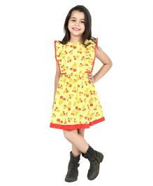 Dress My Angel Floral Cotton Dress - Yellow