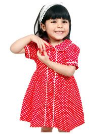 Dress My Angel Polka Dot Print Dress With Bow - Red