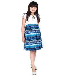 Dress My Angel Cool Wave Design Dress - Blue