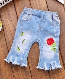 Pre Order - Awabox Rose Embroidered Pant - Light Blue