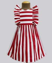 A.T.U.N Stripe Ruffle Dress - Red & White