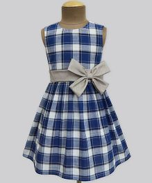 A.T.U.N Navy Girl Tartan Double Dress - Blue & Grey