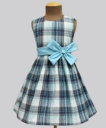 A.T.U.N Melow Mint Plaid Double Bow Dress Dress - Mint Blue