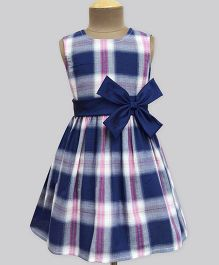 A.T.U.N Peppy Girl Tartan Double Bow Dress - Navy Blue