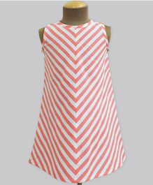 A.T.U.N Coral Stripe A-Line Dress - Red & White