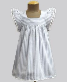 A.T.U.N Star Wash Stripe Angel Sleeve Dress - Grey