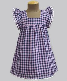 A.T.U.N Gingham Checks Ruffled Sleeves Dress - Blue