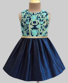 A.T.U.N Daisy Trellis Embroidered Dress - Navy Blue