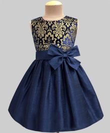 A.T.U.N Velvet Damask Double Bow Dress - Navy Blue