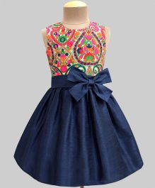 A.T.U.N Lucknow Mosaic Double Bow Dress - Navy Blue