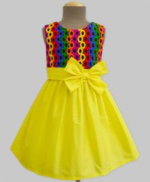 A.T.U.N Party Hoops Embroidered Double Bow Dress - Yellow