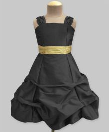 A.T.U.N Ballroom Gown With Golden Belt - Black & Gold