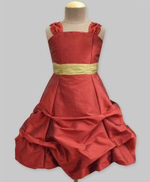 A.T.U.N Ballroom Gown With Golden Belt - Burgundy & Gold
