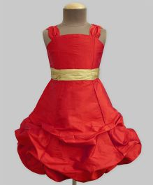 A.T.U.N Scarlet Ballroom Gown With Golden Belt - Scarlet & Gold