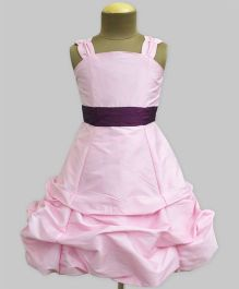 A.T.U.N Salmon Ballroom Gown With Wine Belt - Light Pink & Wine