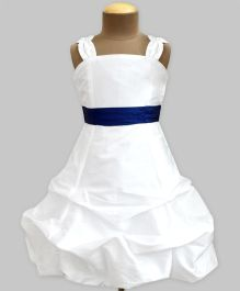 A.T.U.N Ballroom Gown With Navy Belt - Ivory & Navy Blue