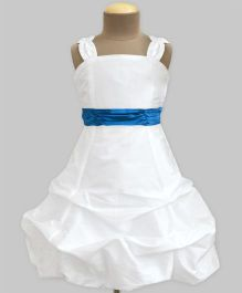 A.T.U.N Ivory Ballroom Gown With Turquoise Belt - Ivory & Turquoise