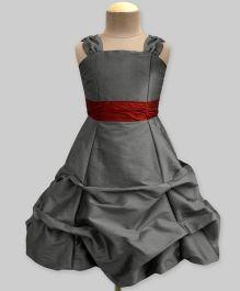 A.T.U.N Lavastone Ballroom Gown ith Maroon Belt - Grey & Maroon