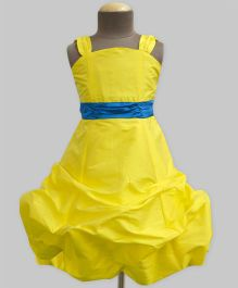 A.T.U.N Ballroom Gown With Turquoise Belt - Yellow & Turquoise