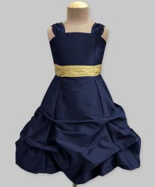 A.T.U.N Ballroom Gown With Golden Belt - Navy Blue & Golden