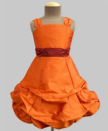 A.T.U.N Ballroom Gown With Burgundy Belt - Orange & Burgundy