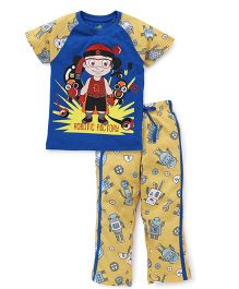 Chhota Bheem Half Sleeves Night Suit Printed - Blue & Yellow