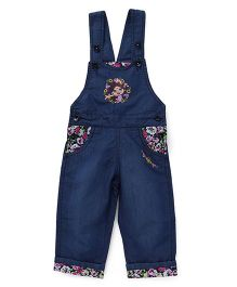 Chhota Bheem Dungaree Chutki And Floral Embroidery - Blue