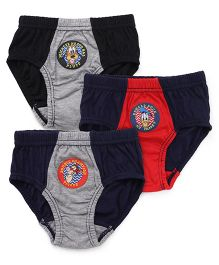 Bodycare Printed Briefs Pack Of 3 - Black Red Grey