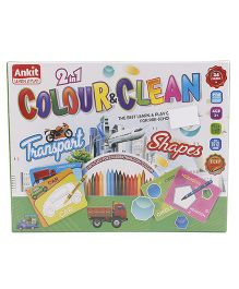 Ankit Toys 2 In 1 Colour & Clean Transport And Shapes - Multicolor