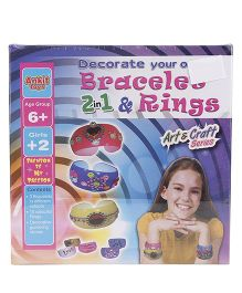 Ankit Toys Bracelet And Rings 2 In 1 Craft Kit - Multi Color