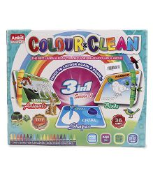 Ankit Toys 3 In 1 Colour & Clean Shapes - Multicolor
