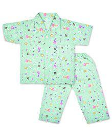 Kid1 Tall Giraffe Tales Night Suit - Sea Green