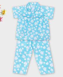 Kid1 Flower Polka Night Suit - Blue