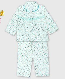 Kid1 Floral Night Suit - Blue