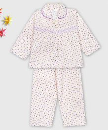 Kid1 Floral Night Suit - Purple