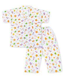 Kid1 Little Monkey Night Suit - Multicolour