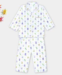 Kid1 Animal Design Night Suit - Purple