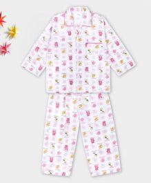 Kid1 Animal Design Night Suit - Pink