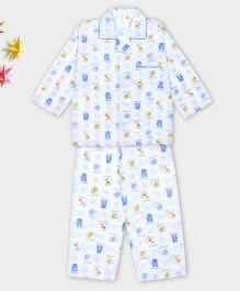 Kid1 Animal Design Night Suit - Blue