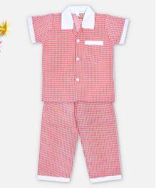 Kid1 Super Checks Night Suit - Red