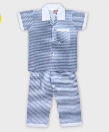 Kid1 Super Checks Night Suit - Blue