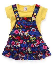 N-XT Dungaree Style Frock With Top - Yellow Navy
