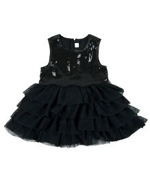 Kidsdew Sleeveless Layered Party Dress - Black