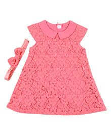 Kidsdew Short Sleeves Tea Rose Dress With Headband - Coral